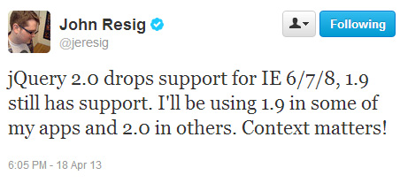 jQuery 2.0 will not support IE6/7/8